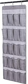 Amelitory Over The Door Shoe Organizer 20 Pockets Hanging Shoe Storage Fabric Gray