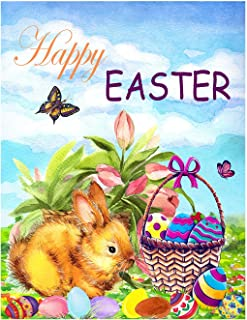 Wamika Happy Easter Bunny Eggs Basket Lilies Flowers Double Sided Garden Yard Flag 12