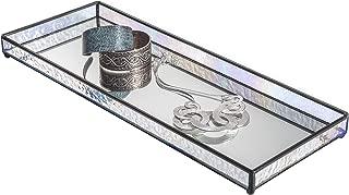 Large Glass Tray Mirrored Bottom Decorative Bathroom Vanity Makeup Organizer Jewelry Display Perfume Holder Dresser Décor Catch All Women J Devlin Tra 103