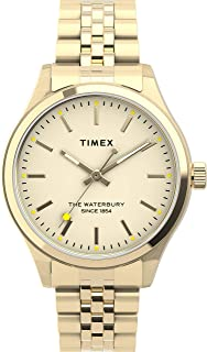 ساعة تايمكس واتربري للنساء نيون 34 ملم بسوار من الستانلس ستيل، ذهبي وردي، 16 ساعة عادية (TW2U23200)
