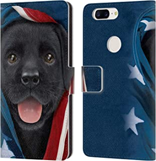 Official Vincent HIE Patriotic Black Lab Canidae Leather Book Wallet Case Cover Compatible for OnePlus 5T