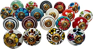 Lot of 20 Knobs Multicolor Rare Hand Painted Ceramic Knobs Cabinet Drawer Pull Indian Mix Knobs