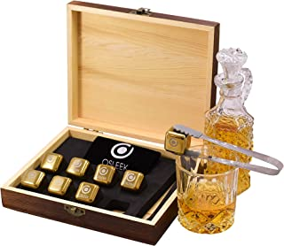 Whiskey Stones - Set of 8 Titanium Gold Plated Stainless Steel Chilling Rocks Stored In A Premium Handmade Quality Wood Gift Box - Velvet Freezing Bag And Tong Included