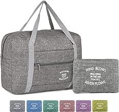 Wandf Foldable Travel Duffel Bag Luggage Sports Gym Water Resistant Nylon (Light Grey)