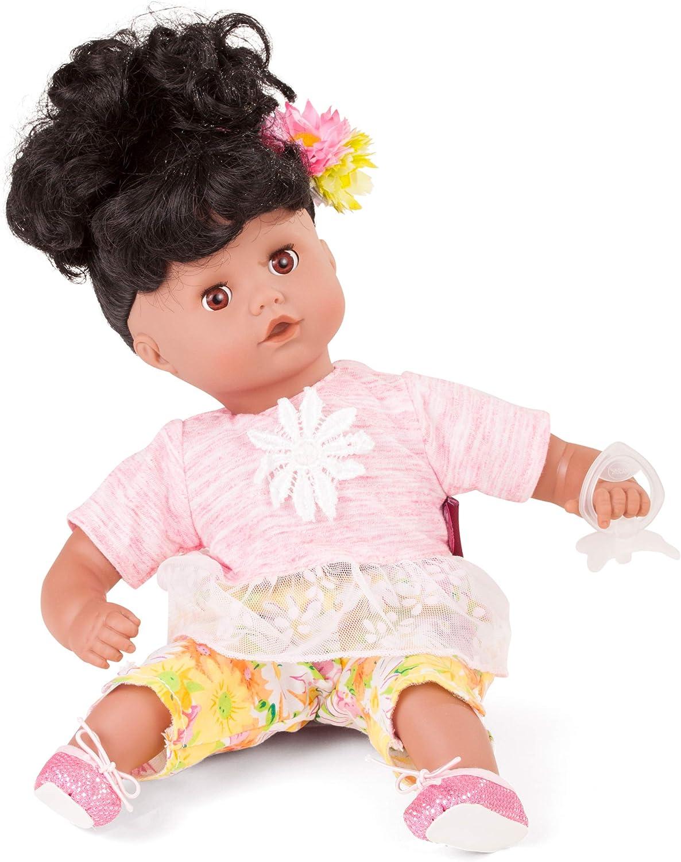Gotz 1720819 Muffin Daisy Do SoftBodyDoll  33 cm BabyDoll With Black Hair And Brown SleepingEyes  Suitable Agegroup 3+