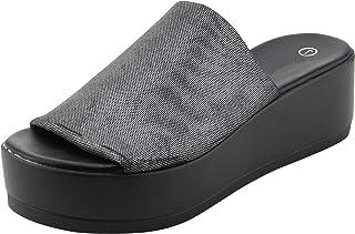 6da21bb277 Cambridge Select Women's Open Toe Classic Retro 90s Stretch Platform Wedge  Slide Sandal