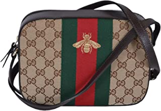 Gucci Women  039 s Canvas and Leather Green Red Web BEE Crossbody Bag  Beige