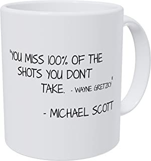 Wampumtuk You Miss 100% Of The Shots You Don't Take, Michael Scott Quotes, 11 Ounces Funny Coffee Mug