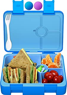 Sugarfox Lunch Box for Kids | Children's Bento Box, Leakproof, Durable [Blue] XL (1200mL)