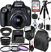 $349 » Canon EOS 4000D/Rebel T100 DSLR Camera with 18-55mm III Lens and Essential Accessory Bundle – Includes SanDisk Ultra 64GB SDXC Memory Card & Digital Slave Flash & 3PC Multi-Coated Filter Set & More