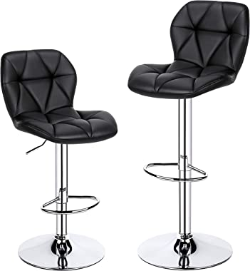 YAHEETECH 2pcs Patio Armless Stools Patio Height Adjustable Seating Bar Stools Swivel Bar Chair with Backrest and Footrest, B