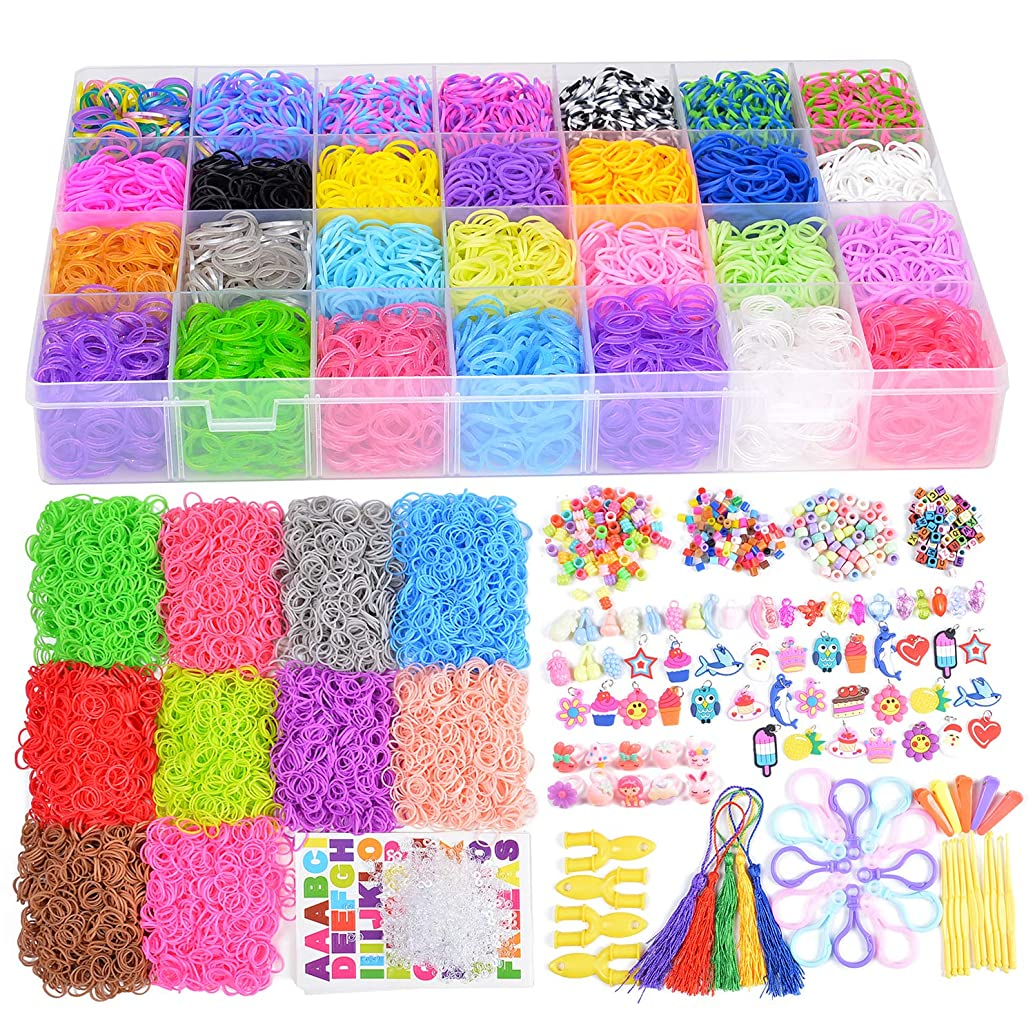 18700+ Rainbow Rubber Bands Refill Kits, 17760+ Loom Bands in 38 Colors, 600 Clips, 230 Beads, 56 ABC Beads, 54 Charms, 12 Backpack Hooks, 10 Crochet Hooks, 10 Rings, 5 Hair Clips, 5 Tassels.