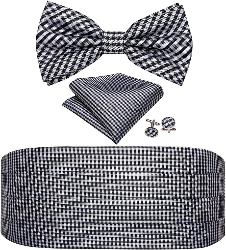 WPYYI Mens Black White Bow Tie Set Plaid Cummerbund Checked Bow Ties Cummerbund Adjustable Waist Belt for Wedding (Color : A, Size : One Size)