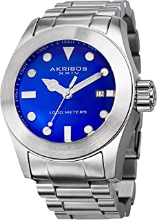 Men's Sharp Watch - Bold, Luminescent, Hour Markers Glossy Dial and Stainless Steel Bracelet - AK730