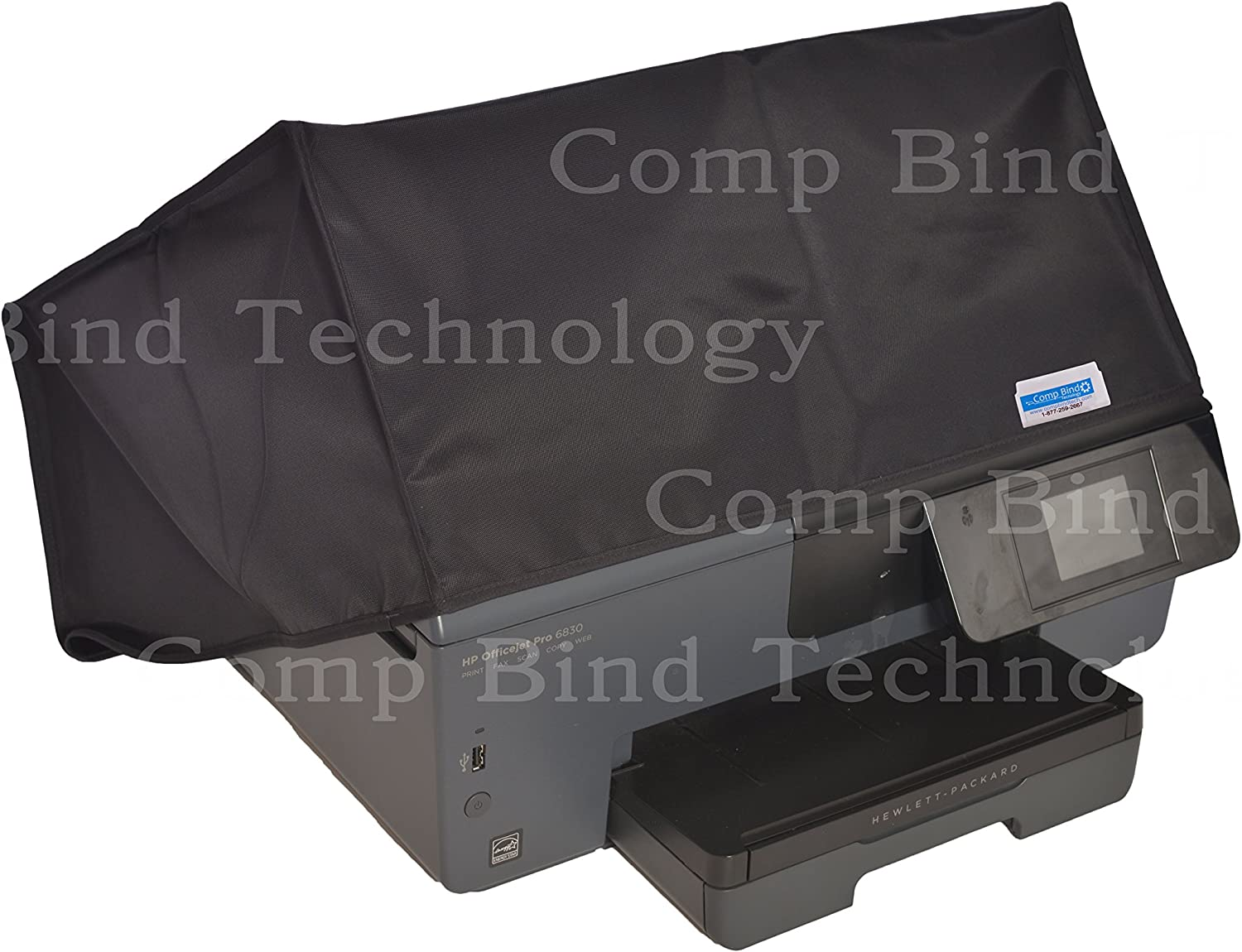 Comp Bind Technology Dust Cover Compatible with HP Envy Photo 7855 All-in-One Printer, Black Nylon Anti-Static Cover, Dimensions 17.8''W x 16.2''D x 7.5''H