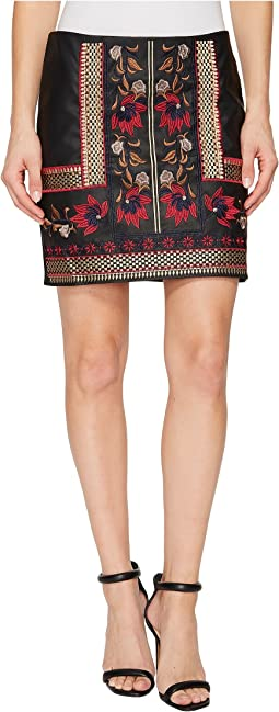 Embroidered Faux Leather Skirt