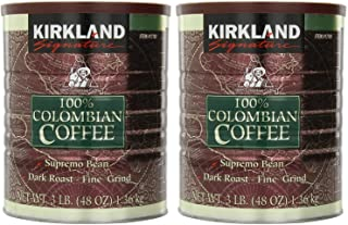 Kirkland Signature 100% Colombian Coffee Supremo Bean Dark Roast-Fine Grind, 6 Pound,Signature-ykgj