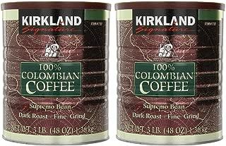Kirkland Signature 100% Colombian Coffee Supremo Bean Dark Roast-Fine Grind, 6 Pound,Signature-ykgj