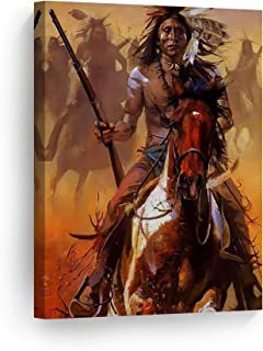 SmileArtDesign Indian Wall Art Native Americans Riding Horses with Guns Canvas Print Home Decor Decorative Artwork Gallery Wrapped Wood Stretched and Ready to Hang -%100 Handmade in The USA - 36x24