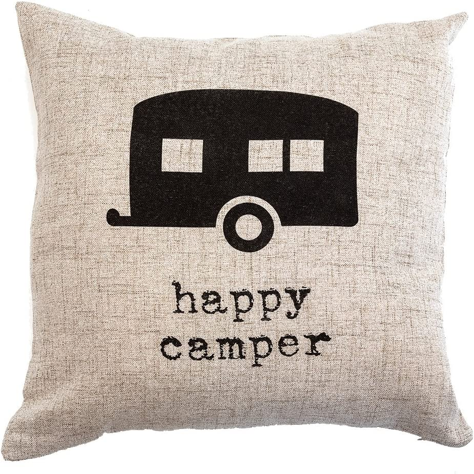 Live A Wild Life Happy Camper Pillow Decorative Accent Pillow Throw Pillow For Cabin Motorhome Or Rv 18 X 18 Inch Cream Home Kitchen