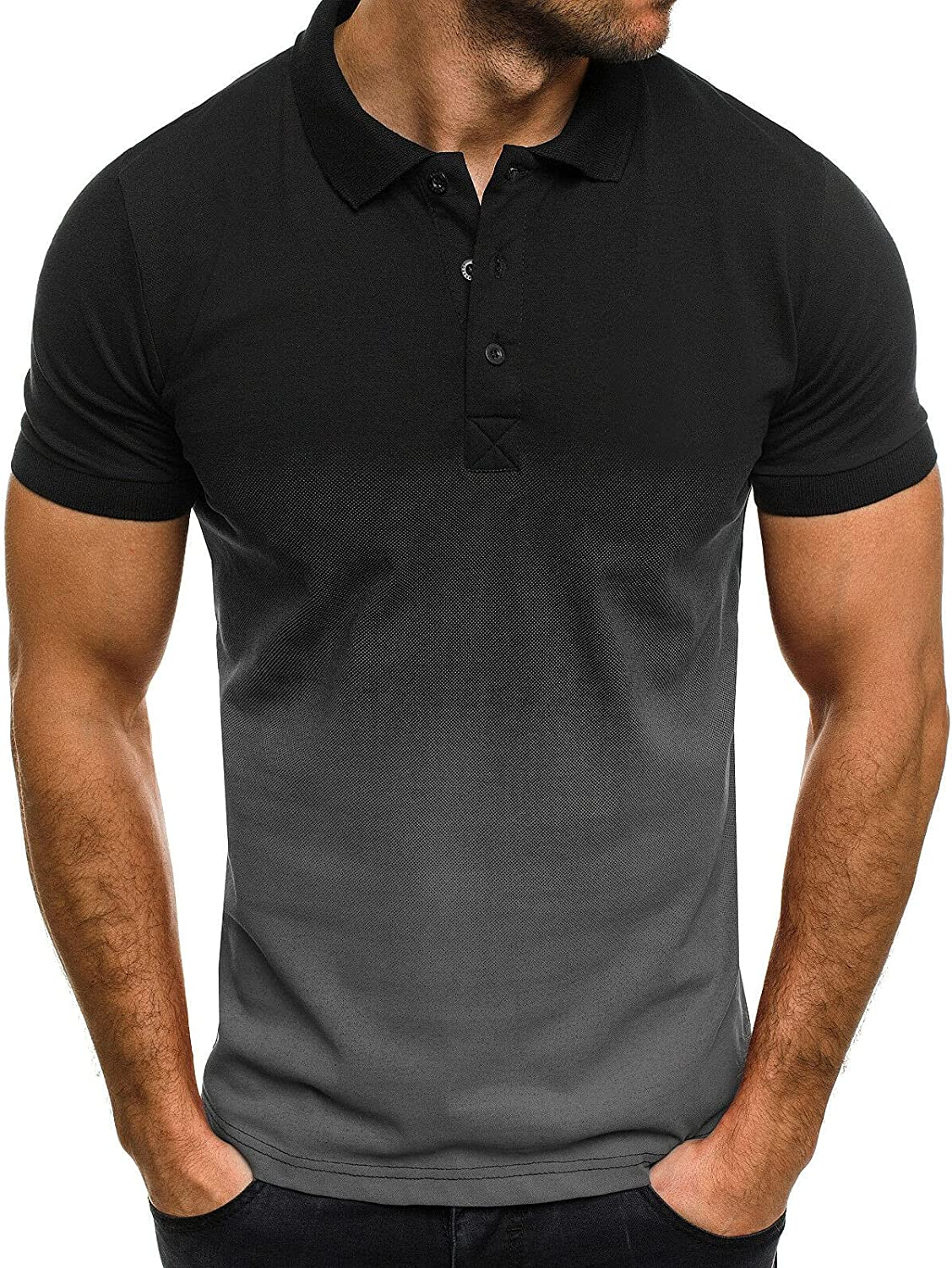 Homisy Polo t Shirts for Men Stand-Up 3D Shirt Collar Gr Dye free Tie Ranking TOP6