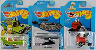 2014 Hot Wheels The Simpsons The Homer, Star Trek U.S.S. Vengeance, Snoopy Set of 3! [Ships in a Box!]