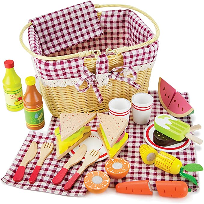 Imagination Generation Slice & Share Picnic Basket - Wood Eats! Play Food  Playset with Cutting Fruits, Veggies, Tablecloth and More - Great for  Indoor & Outdoor Pretend Play (34 pcs.) : Amazon.co.uk: