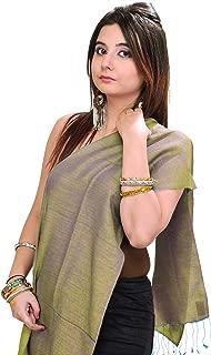 Exotic India Plain Reversible Water-Pashmina Scarf from Nepal