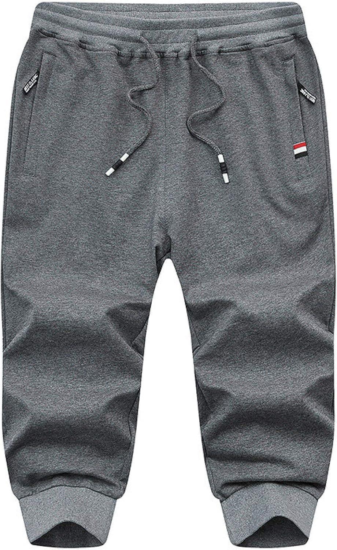 Segindy Men's Sports Casual Shorts Summer Loose Fashion Zipper Pockets Breathable
