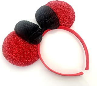 MeeTHan Sparkling Black Red Bow Cat Mouse Ears Headbands: M4 (Sparking-Red)