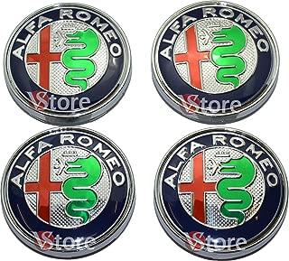 4 TAPPI COPRIMOZZO BORCHIE ALFA ROMEO DA 60mm LOGO ALFA ROMEO BISCIONE