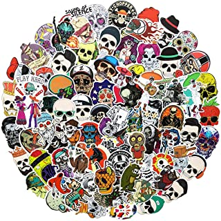 100pcs Sugar Skull Funny Cool Ogreish Stickers Waterproof Laptop Stickers Car Bicycle Suitcase Computer Water Bottle Mobile Phone Stickers Water Resistant Decals (Skull C 100)