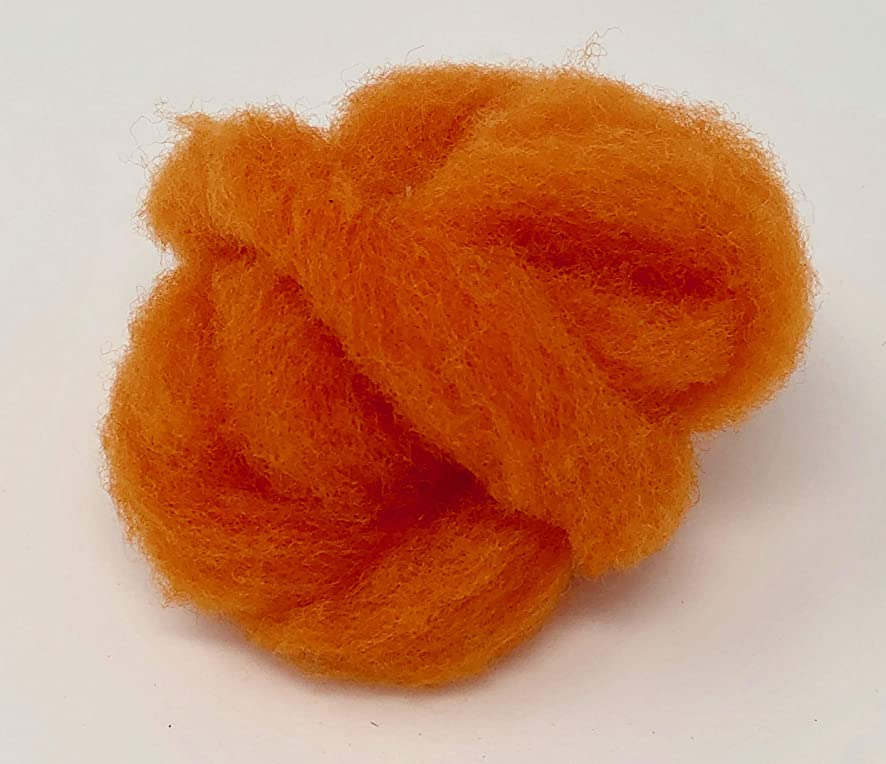 Clun Forest Wool Roving (Orange, 1 oz)