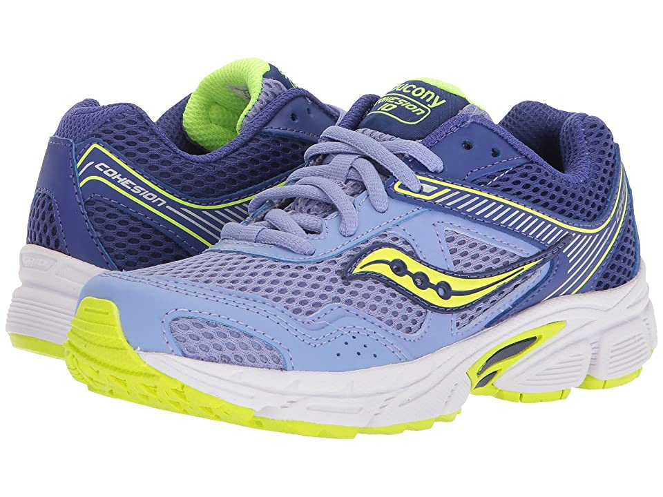 Saucony Kids Cohesion 10 LTT (Little Kid/Big Kid) (Periwinkle/Citron) Girls Shoes