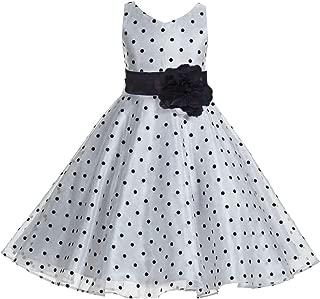 Polka Dot V-Neck Rhinestone Organza Flower Girl Dresses Graduation Dress Toddler Dresses 184T