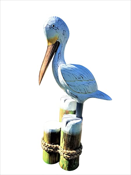 All Seas Imports Unique Large Weather Coated For Outdoors 22 X 6 HANDCARVED Painted Wood Pelican Statue ON Triple Tier Piling