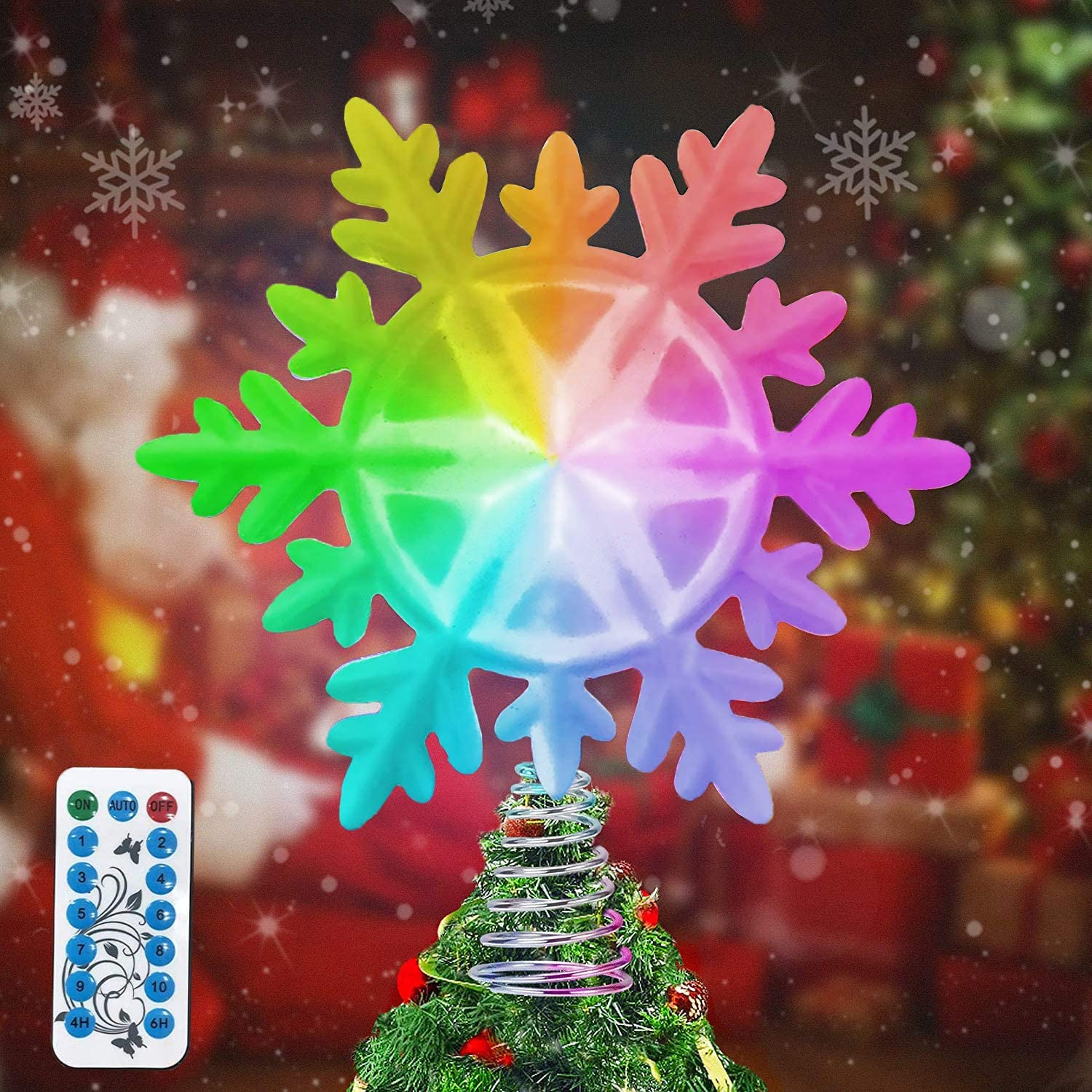 LSXD mart Snowflake Christmas Tree Topper with Very popular! Lights LED Multicolor