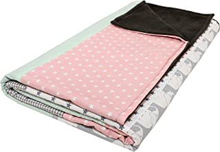 """Elephant Baby Blanket by ULLENBOOM   Star/Checkered Patchwork Design   39"""" x 55"""" - Girls Mint/Pink Color"""