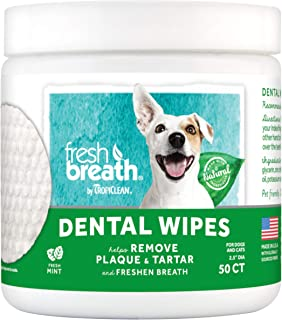 Fresh Breath by TropiClean No Brushing Clean Teeth Dental & Oral Care Dental Wipes for Pets, 50ct