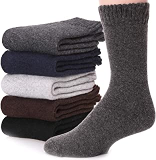 Mens Wool Socks Thermal Warm Heavy Thick Boot Winter Fuzzy Long Socks For Cold Weather 5 Pack
