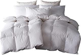 SNOWMAN White Goose Down & Feather Blend Comforter King Size 100% Cotton Cover Down Proof Baffle Boxes Construction,Soft and Warm