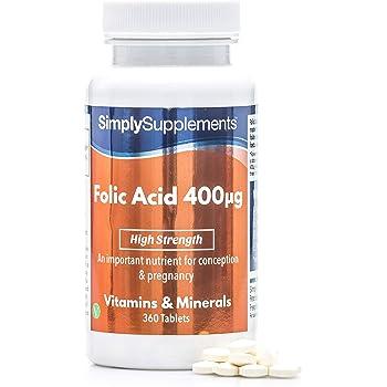 Acido Folico 400 mcg - 360 compresse - Adatto ai vegani - 1 anno di trattamento - SimplySupplements