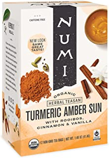 Sponsored Ad - Numi Organic Tea Amber Sun, 12 Count Box of Tea Bags (Pack of 3) Turmeric Tea (Packaging May Vary)