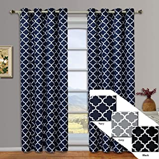 Meridian Navy Grommet Room Darkening Window Curtain Panels, Pair / Set of 2 Panels, 52x63 inches Each, by Royal Hotel