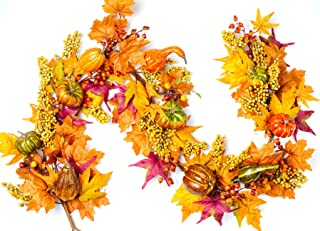 CraftMore Fairview Fall Maple Leaf and Pumpkin Garland 6'