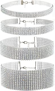 Cupimatch Wide Shinning Rhinestone Crystal Choker Adjustable Collar Necklace for Women Set of 4