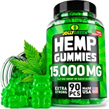 JOLLYGREEN Hemp Gummies - 15000MG in 90 PCS - Effective Anxiety & Stress Relief - Made in USA - Natural Immune Gummies - Tasty & Relaxing - Rich in Omega 3-6-9 - Great Mood Boost & Insomnia Relief