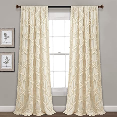 "Amazon.com: Lush Decor, Ivory Ruffle Diamond Curtains Textured Window Panel  Set for Living, Dining Room, Bedroom (Pair), 95"" x 54, 95"" x 54"" : Home &  Kitchen"