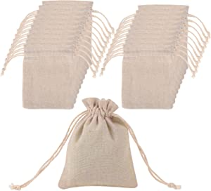 Mudder 20 Pack Muslin Bags Drawstring Muslin Bag for Wedding Party Favor and DIY Craft, 4.7 by 3.5 Inch
