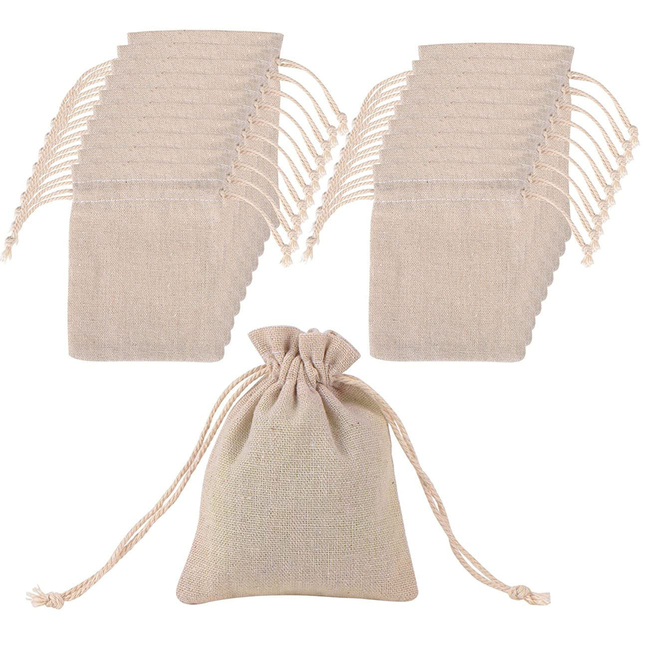 Mudder 20 Pack Cotton Muslin Bags Drawstring Muslin Bag for Wedding Party Favor and DIY Craft, 4.7 by 3.5 Inch